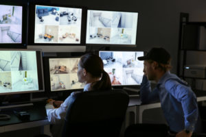 Live operators watching security cameras